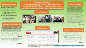 Zoom into Advising Bringing Technology into the Advising