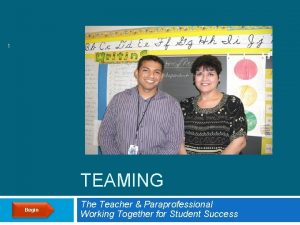 1 TEAMING Begin The Teacher Paraprofessional Working Together