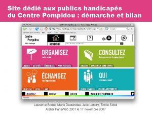 Site ddi aux publics handicaps du Centre Pompidou