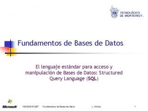 Fundamentos de Bases de Datos El lenguaje estndar
