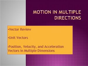 Vector Review Unit Vectors Position Velocity and Acceleration