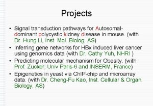 Projects Signal transduction pathways for Autosomaldominant polycystic kidney