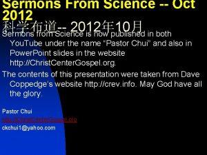 Sermons From Science Oct 2012 2012 10 Sermons