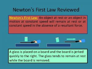 Newtons First Law Reviewed Newtons First Law An