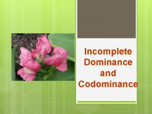 Incomplete Dominance and Codominance Incomplete Dominance F 1