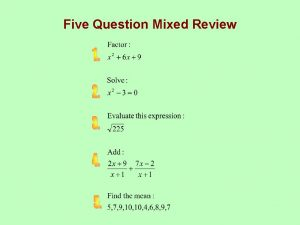 Five Question Mixed Review Five Question Mixed ReviewKEY