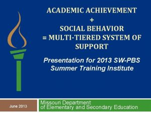 ACADEMIC ACHIEVEMENT SOCIAL BEHAVIOR MULTITIERED SYSTEM OF SUPPORT