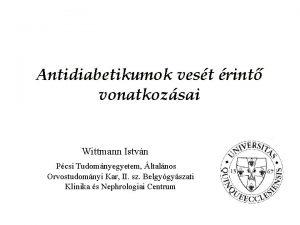 Antidiabetikumok vest rint vonatkozsai Wittmann Istvn Pcsi Tudomnyegyetem
