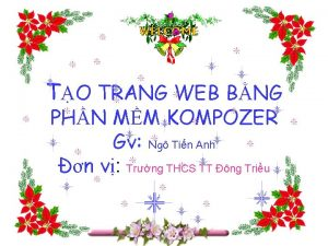 TO TRANG WEB BNG PHN MM KOMPOZER Gv
