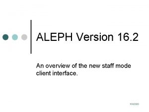 ALEPH Version 16 2 An overview of the
