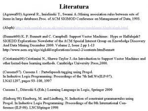 Literatura Agrawal 93 Agrawal R Imielinski T Swami