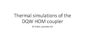 Thermal simulations of the DQW HOM coupler Dr
