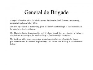 General de Brigade Analysis of the fire tables