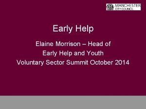 Early Help Elaine Morrison Head of Early Help