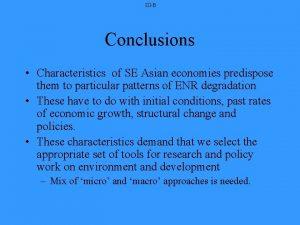 IIIB Conclusions Characteristics of SE Asian economies predispose