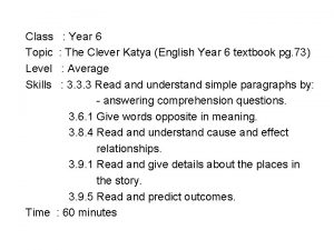 Class Topic Level Skills Year 6 The Clever