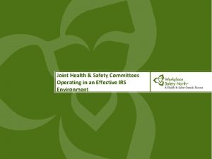 Joint Health Safety Committees Operating in an Effective