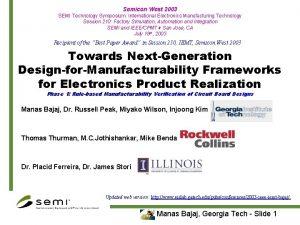 Semicon West 2003 SEMI Technology Symposium International Electronics
