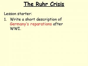 The Ruhr Crisis Lesson starter 1 Write a