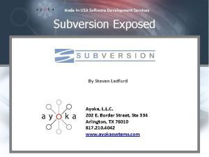Made in USA Software Development Services Subversion Exposed