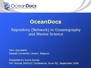 Ocean Docs Repository Network in Oceanography and Marine