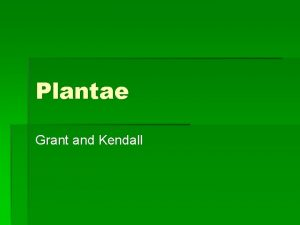 Plantae Grant and Kendall Nonvascular plants Plants that