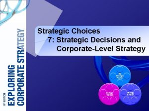 Strategic Choices 7 Strategic Decisions and CorporateLevel Strategy