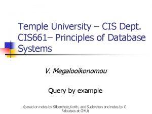 Temple University CIS Dept CIS 661 Principles of