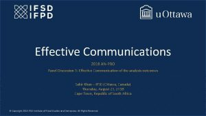 Effective Communications 2018 ANPBO Panel Discussion 5 Effective