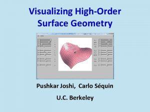 Visualizing HighOrder Surface Geometry Pushkar Joshi Carlo Squin