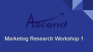 Marketing Research Workshop 1 Complexities of Marketing Research