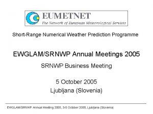 ShortRange Numerical Weather Prediction Programme EWGLAMSRNWP Annual Meetings