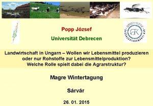 Popp Jzsef Universitt Debrecen Landwirtschaft in Ungarn Wollen