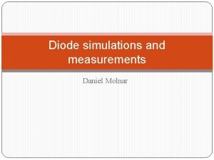 Diode simulations and measurements Daniel Molnar Dipole diode