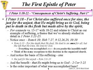 The First Epistle of Peter I Peter 3
