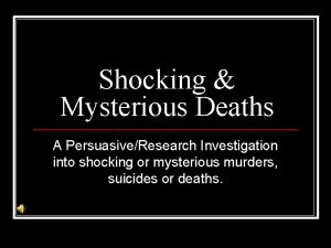 Shocking Mysterious Deaths A PersuasiveResearch Investigation into shocking