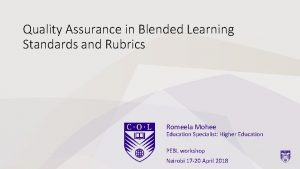 Quality Assurance in Blended Learning Standards and Rubrics