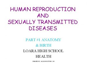 HUMAN REPRODUCTION AND SEXUALLY TRANSMITTED DISEASES PART 1