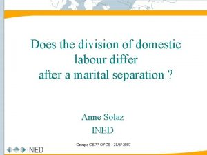 Does the division of domestic labour differ after