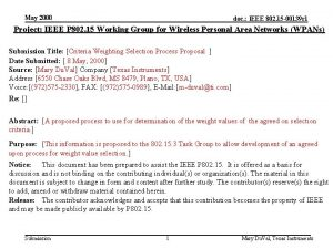 May 2000 doc IEEE 802 15 00139 r