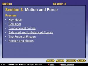 Motion Section 3 Motion and Force Preview Key