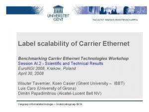 Label scalability of Carrier Ethernet Benchmarking Carrier Ethernet