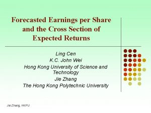 Forecasted Earnings per Share and the Cross Section