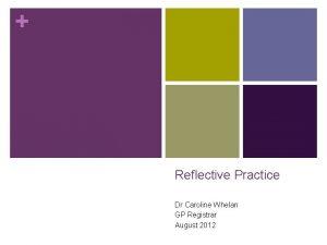 Reflective Practice Dr Caroline Whelan GP Registrar August