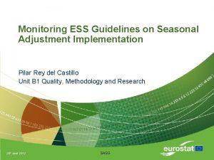 Monitoring ESS Guidelines on Seasonal Adjustment Implementation Pilar