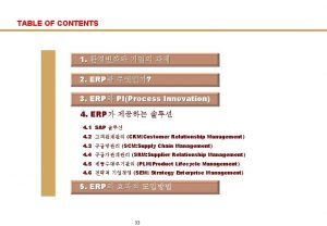 TABLE OF CONTENTS 1 2 ERP 3 ERP
