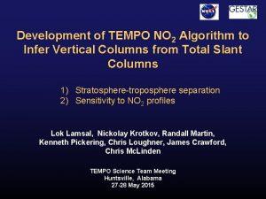 Development of TEMPO NO 2 Algorithm to Infer