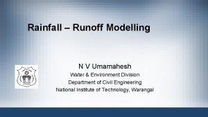 Rainfall Runoff Modelling N V Umamahesh Water Environment