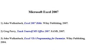 Microsoft Excel 2007 1 John Walkenbach Excel 2007