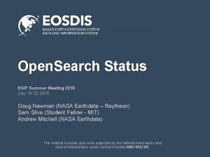 Open Search Status ESIP Summer Meeting 2016 July